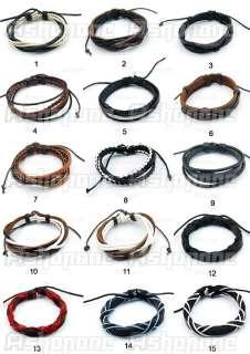 Wrap Surfer Genuine Leather Handmade Braided Bracelet Wristband