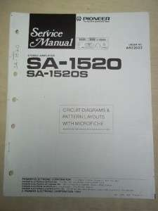 Pioneer Service Manual~SA 1520/1530/S Amplifier~Original~Repair