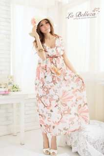 Boho Belted Floral Chiffon Summer Cocktail Long Maxi Dress #63 2 Color