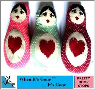NEW RUSSIAN DOLL POLKA DOT FABRIC BEAN BAG DOOR STOP