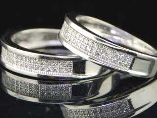 LADIES + MENS WEDDING BAND DIAMOND RING DUAL DUO SET