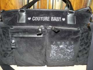 COUTURE large black baby diaper travel bag tote + extras Saks $450