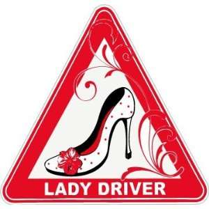 Lady Driver High Heels Driving Funny Car Bumper Sticker