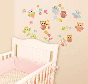 BABY OWLS wall stickers 33 colorful decals flowers nursery decor birds