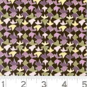 45 Wide Pressed Flowers Zig Zags Black/Lavender Fabric