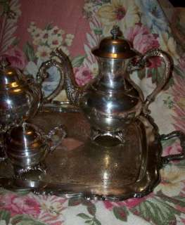 Vintage Rogers Silver Plated Tea Set~Victorian Footed 5 pc set~Rococo