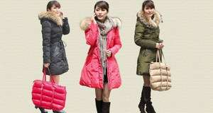 New style womens 90% duck down big fur winter long coat jacket parka