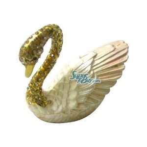 Yellow Swan   Jewelry Trinket Box Swarovski Crystal (JF8856) Beauty