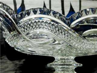 NEW 24% CRYSTAL GLASS BOWL,LARGE CENTERPIECE,CZECH Dish