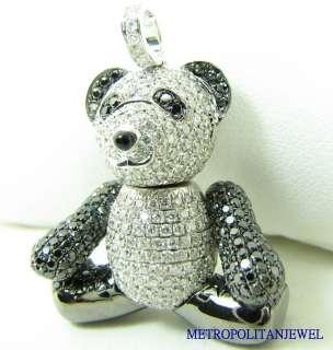 18K WHITE GOLD DIAMOND PANDA BEAR PENDANT GENUINE