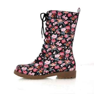 Womens Pink Floral Punk Lace Up Military Boots #780b