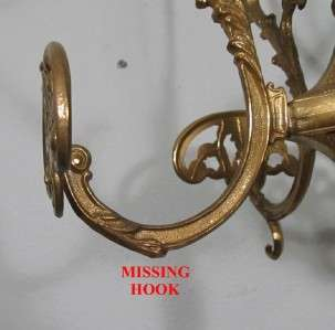 Ornate Antique Brass Coat Hat Rack Hall Tree