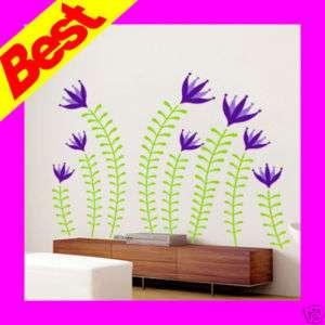 Violet Flower Wall Decals Vinyl Home Decor Stickers
