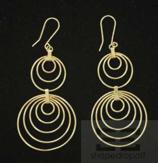 Designer 18K Yellow Gold Multiple Hoop Dangle Earrings