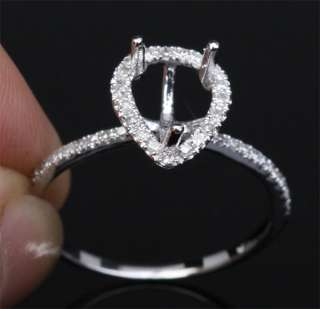 PEAR SHAPED Pave DIAMOND 14K WHITE GOLD Engagement Semi Mount RING