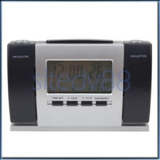 Dual Projector Projection Desk Digital Alarm Clock New