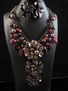 Elegant Wedding Party Flower Pendant Evening Necklace Earrings Set