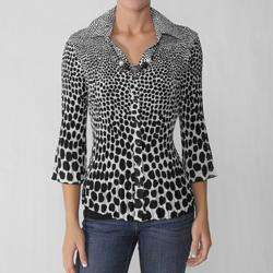 Signature by Larry Levine Womens Crinkle Blouse
