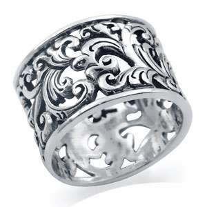 925 Sterling Silver SCROLL/FILIGREE Band Ring Size/Sz 7 k99