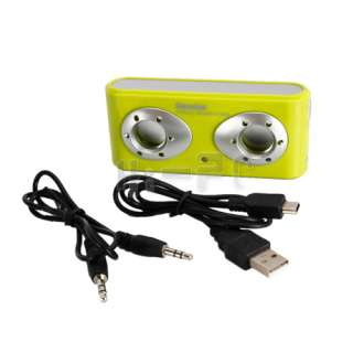 New DK 602 USB Mini Speaker With Battery Green For PC Laptop Notebook