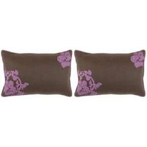 Surya Chocolate and Violet Set of 2 Lumbar Pillows: Home