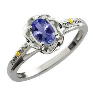 0.46 Ct Oval Blue Tanzanite Canary Diamond Sterling Silver