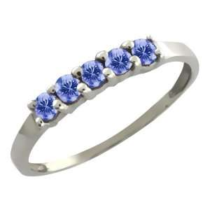 0.40 Ct Round Blue Tanzanite 14k White Gold Ring Jewelry