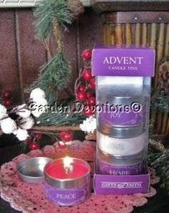ADVENT CANDLE TINS Love Peace Joy Hope INCENSE SMELL