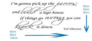 Ed Sheeran Lego House Song Lyrics Wall Art Sticker Decal Wallpaper