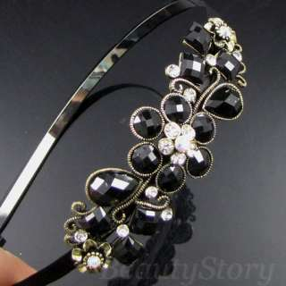SHIPPING antiqued rhinestone crystal flower hair band headband