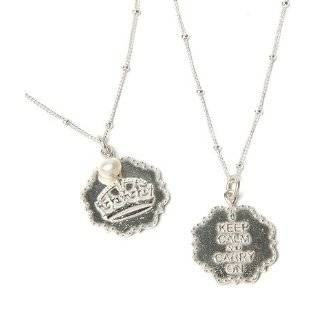 Keep Calm and Carry On Crown Sterling Silver Charm Necklace British
