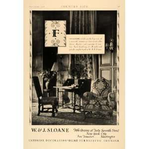 1928 Ad W.J. Sloane Furniture Home Furnishings Decor