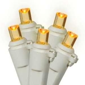 Set of 100 LED Amber Wide Angle Christmas Lights   White