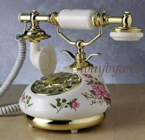 Antique Vintage Retro Style White Rose Porcelain Phone