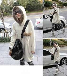 Fashion Ladies Long Sleeve Loose Sports Fleeces Fur Collar Hoodie Coat