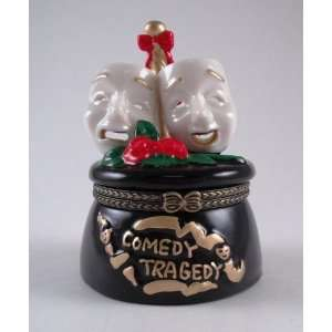 Comedy Tragedy Sad Happy Face Hinged Trinket Box Home