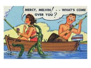 Comic Cartoon   Octopus Tickles Lady, Husband Fishing Premium Poster