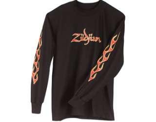 Zildjian Cymbals Classic Black Fire Logo Long Sleeve Tee T Shirt   S M