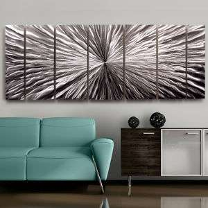 Large Contemporary Abstract Metal Wall Art Sculpture Silver Radiant