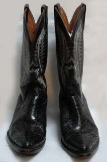 VTG Dos De Oro Mens Black Snakeskin Cowboy Boots Sz 10