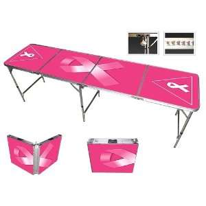 Pink Ribbon Beer Pong Table 8ft   Premium HD Design