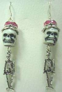 GOTH Sugar SKULL EARRINGS Dia de los Muertos Rockabilly Skeleton