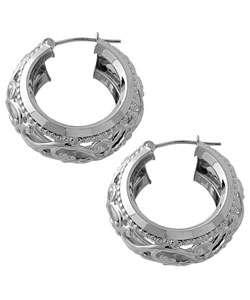 14k White Gold Filigree Hoop Earrings