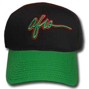 NOVELTY AFRO BLACK GREEN LADY WOMEN OPEN BACK CAP HAT