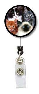 CATS KITTENS CLIP ON RETRACTABLE ID BADGE HOLDER GIFT