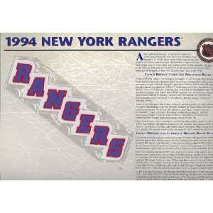1994 New York Rangers Official Patch on Team History Card