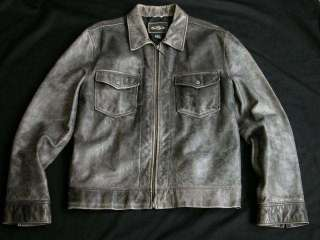 EARL JEAN Distressed Grey Leather Motorcycle Jacket Mens L