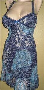 SEXY BLUE LACE LEOPARD ANIMAL PRINT MINI DRESS PARTY S