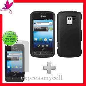Screen + BLACK Hard Case Cover for Straight Talk NET 10 LG OPTIMUS Q