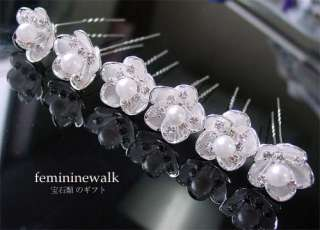 WEDDING BRIDAL PEARL CRYSTAL FLOWER HAIR PINS #RP20